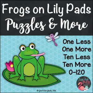 Use this frog themed resource for first and second-grade math to provide practice or review for the concept of one less/ more and ten less/ more for numbers 0-120. #frogs #mathcenters #onemoreoneless #tenmoretenless