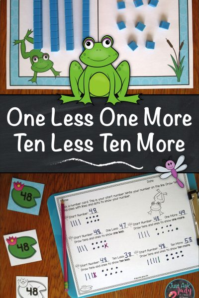 Try this free frog themed first and second-grade math resource designed to help develop conceptual understanding of one less/ more and ten less/ more for numbers 0-120 using base ten blocks. #1More1Less #10More10Less #MathActivity #frogs
