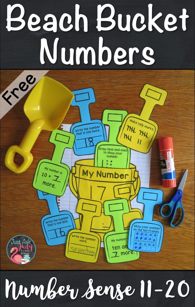 Click to view this free beach bucket math activity for reviewing and reinforcing number sense, ideal for kindergarteners. #summer #numbersense #beach
