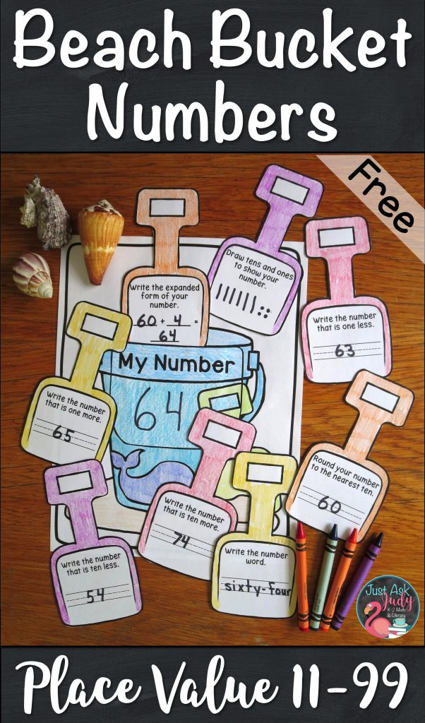 Stop summer slide with this free, versatile beach bucket activity for reviewing and reinforcing place value skills, perfect for second or third grade math. #placevalue #summer #beach