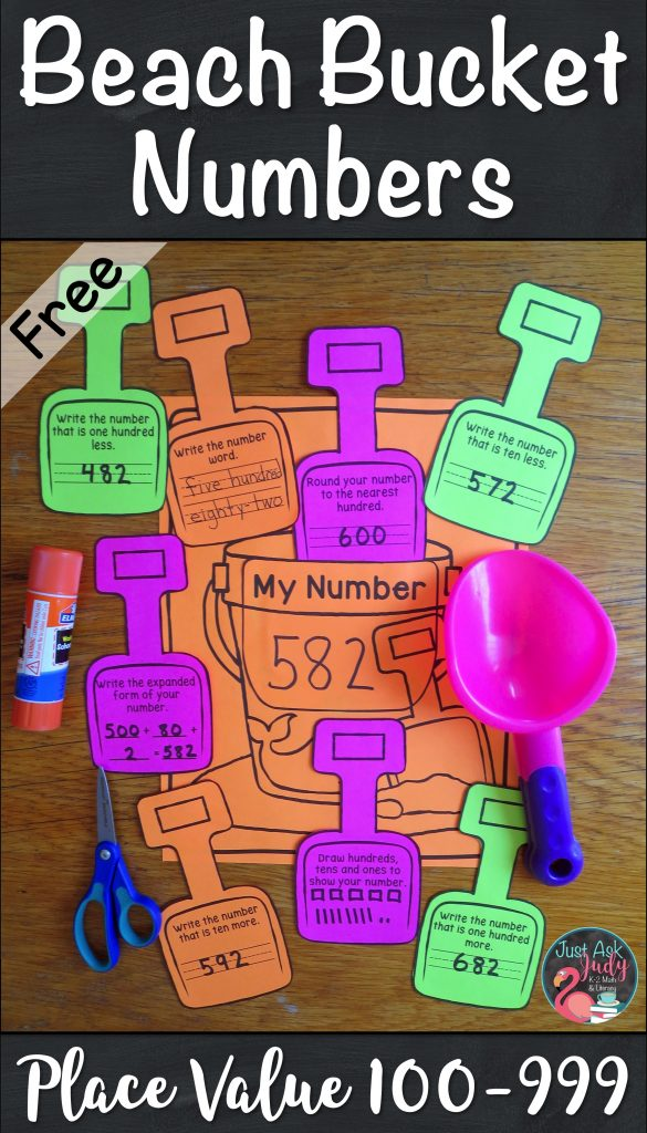 Download this free, versatile beach bucket math activity for reviewing and reinforcing place value skills, ideal for second and third grade.