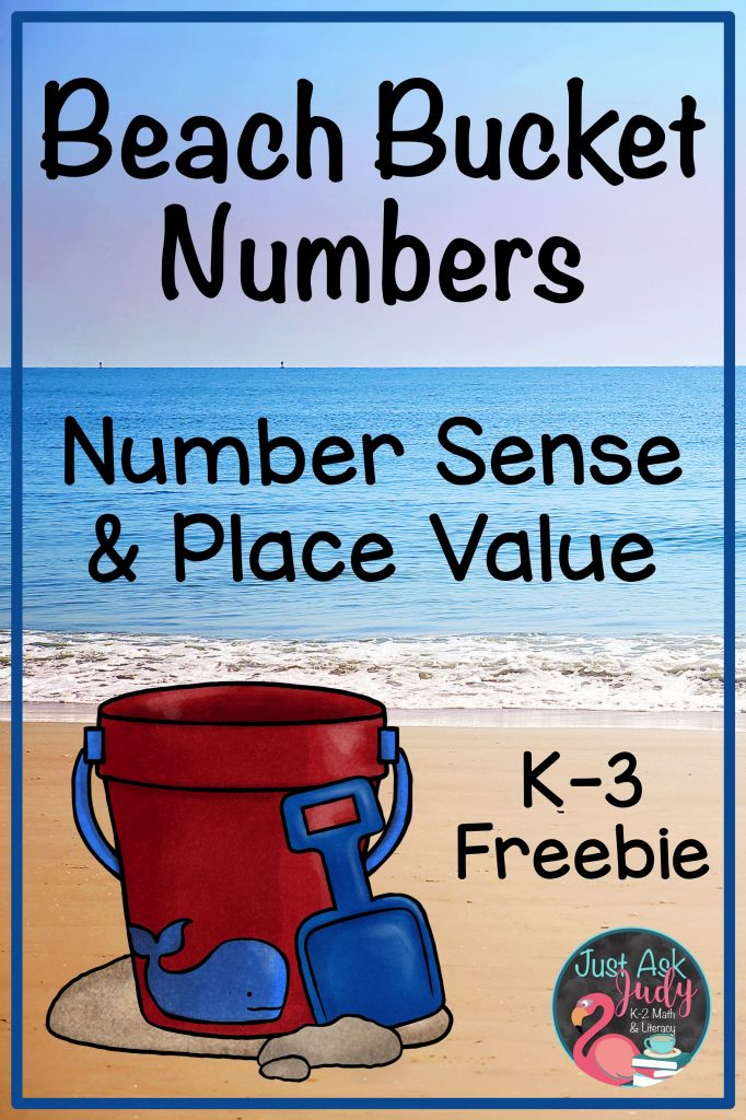 Read this blog post and discover a free, versatile beach bucket math resource, perfect for reviewing and reinforcing number sense and/ or place value skills in kindergarten, first, second, or third grades! #summer #beach #placevalue #numbersense