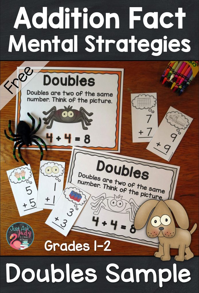 Check out this free math sample, compiled from three of my best-selling addition resources, for reinforcing the doubles addition fact strategy with 1st and 2nd graders. #DoublesFacts #AdditionFacts #FirstGradeMath #SecondGradeMath #MathIntervention