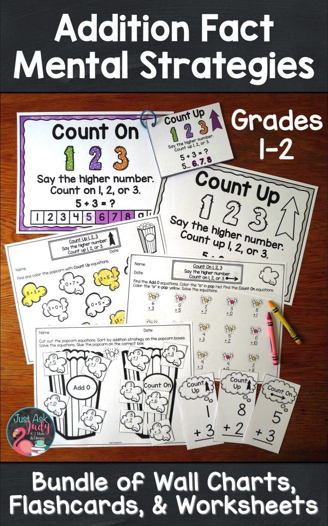 Try this money saving bundle of three math resources; anchor wall charts, flashcards, and worksheets; that is perfect for supporting explicit strategy instruction for the basic addition facts to 20 in 1st and 2nd grades. #AdditionFacts #1stGradeMath #2ndGradeMath #ExplicitInstruction #VisualCues