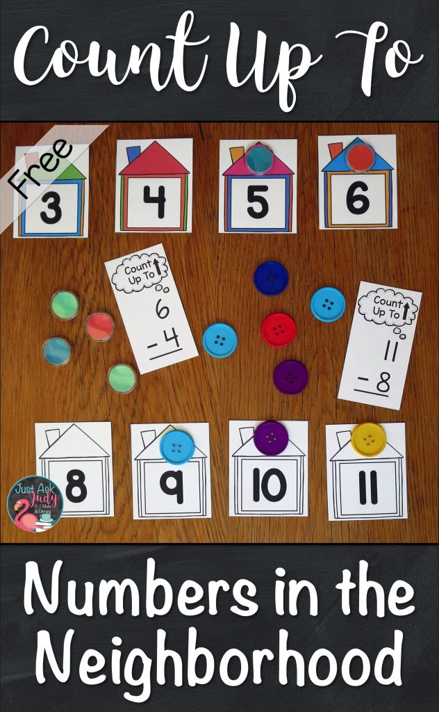 Use these number line houses and counters to help your first and second-grade students develop understanding of the Count Up To strategy for subtraction facts. #SubtractionFacts #CountUpTo #FactStrategies #SecondGradeMath #FirstGradeMath