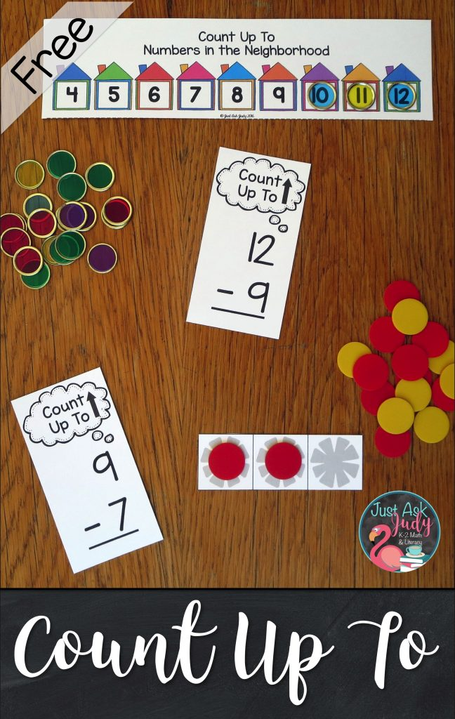Try this hands-on number line or counting strips along with counters to help your 1st and 2nd grade math students develop understanding of the Count Up To strategy for subtraction facts. #SubtractionFacts #CountUpTo #FactStrategies #1stGradeMath #2ndGradeMath