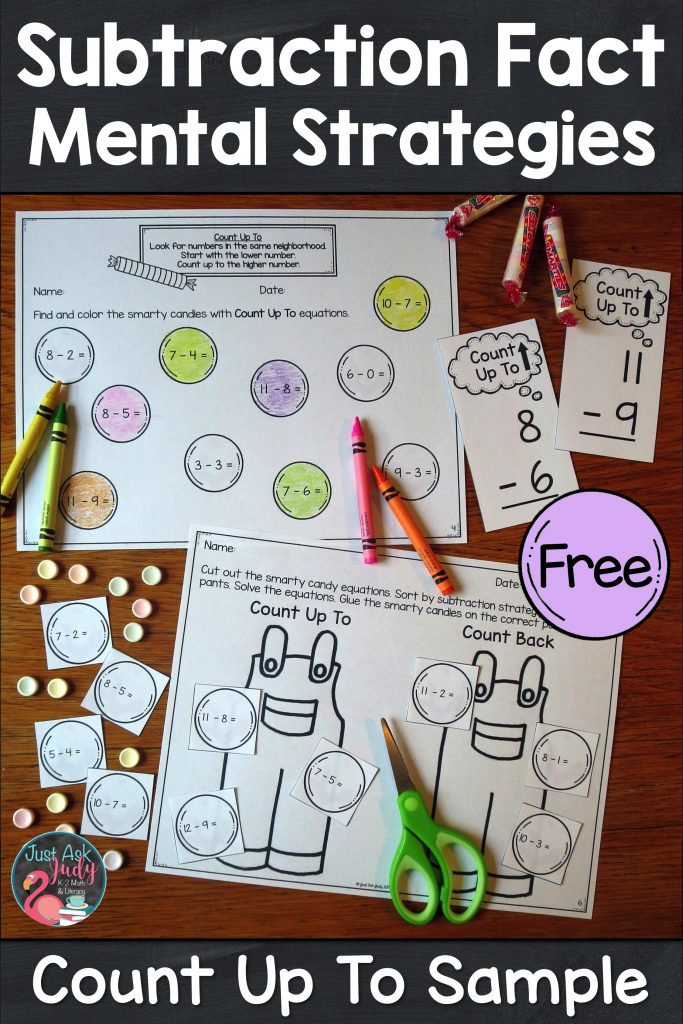 Enjoy this free math sample, compiled from three of my subtraction resources, for reinforcing the count up to subtraction fact strategy in first and second-grade. #SubtractionFacts #SubtractionFactStrategies #1stGradeMath #2ndGradeMath #MathIntervention