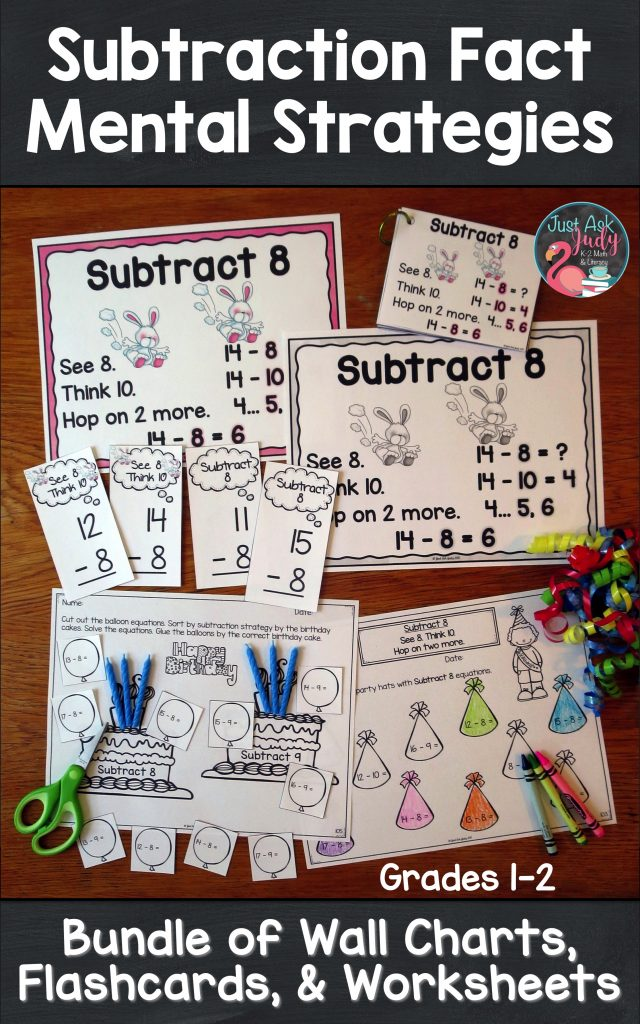 Try this money saving bundle of three math resources; anchor wall charts, flashcards, and worksheets. It is perfect for supporting explicit strategy instruction for the basic subtraction facts to 20 in 1st and 2nd grades. #SubtractionFacts #FirstGradeMath #SecondGradeMath #ExplicitInstruction #VisualCues