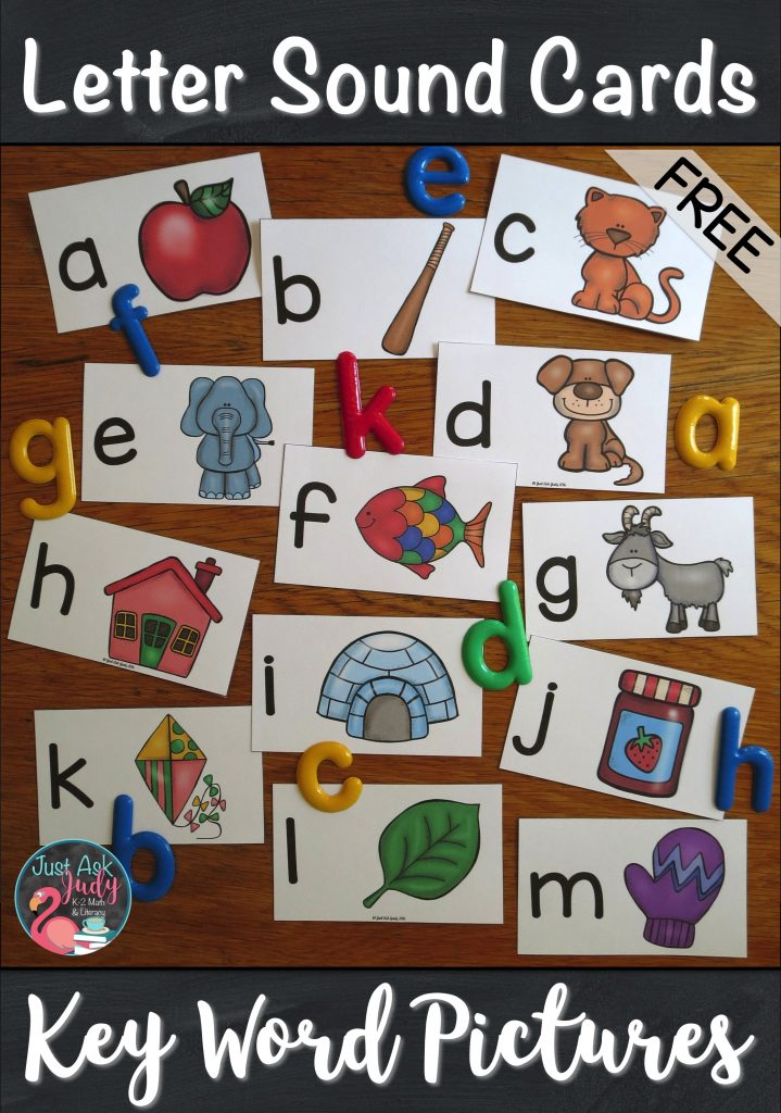 Check out this free set of letter/ sound picture cards, perfect for introductory lessons in preschool or kindergarten. Each card has a lowercase letter and a key picture representing the sound the letter stands for. The pictures represent single initial consonant sounds, initial short vowel sounds, and final x with the /ks/ sound. #BeginningSounds #KindergartenPhonics