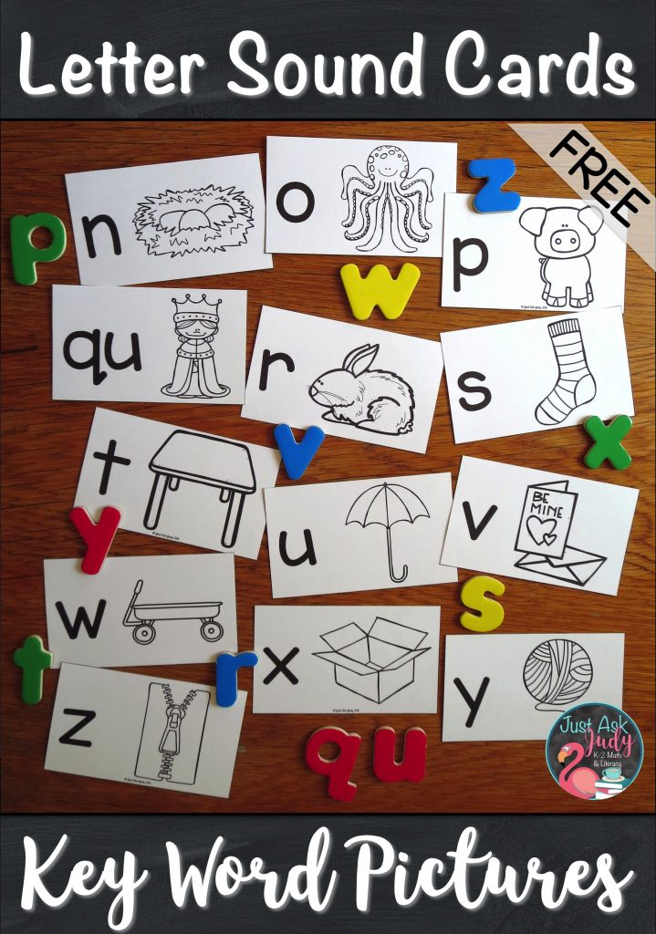 Click to see this free set of letter/ sound picture cards, ideal for introductory lessons in preschool or kindergarten. Each card has a lowercase letter and a key picture representing the sound the letter stands for. The pictures represent single initial consonant sounds, initial short vowel sounds, and final x with the /ks/ sound. #Multi-SensoryTeaching #PreschoolLetters