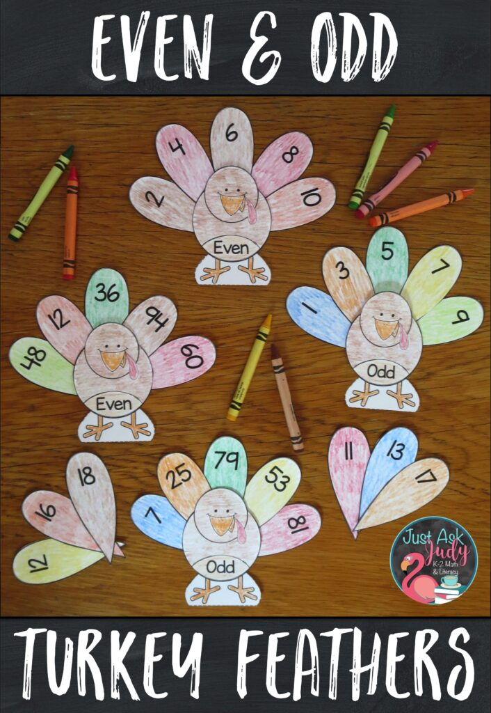 Download this free turkey themed resource for sorting even and odd numbers 1-10, 11-20, or 1-99. It is perfect for 1st and 2nd grades. #EvenOddNumbers #Turkeys #SecondGradeMath