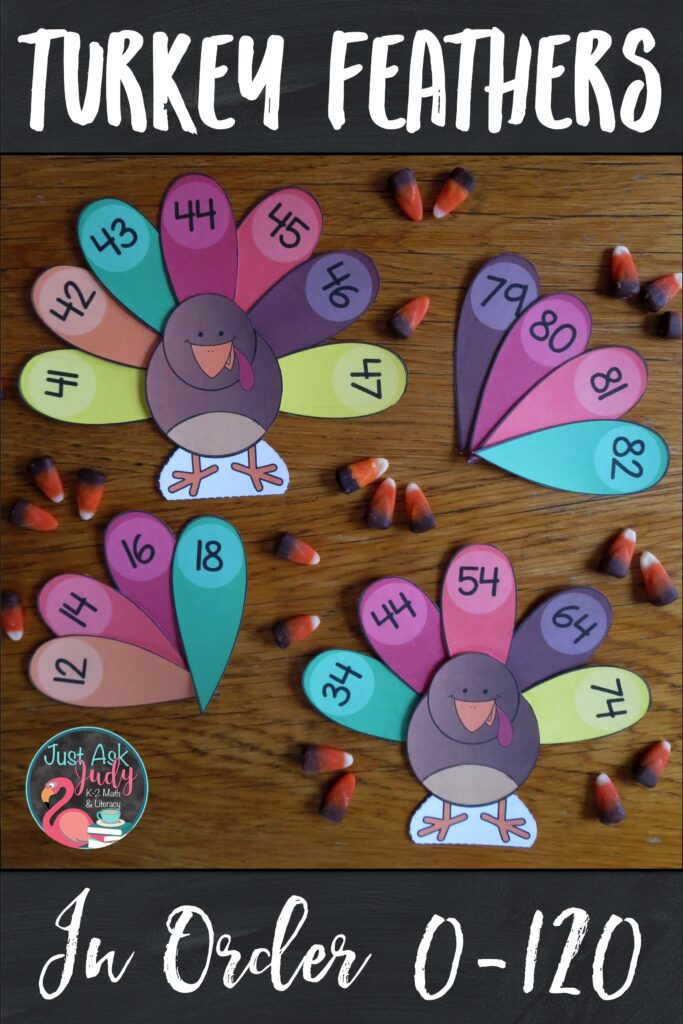 Click to see this open-ended flexible turkey themed resource for sequencing numbers 0-120 in a variety of ways. Use it to provide individualized practice for your kindergarten, first, and second-grade math students. #Turkeys #OrderingNumbers #MathStations