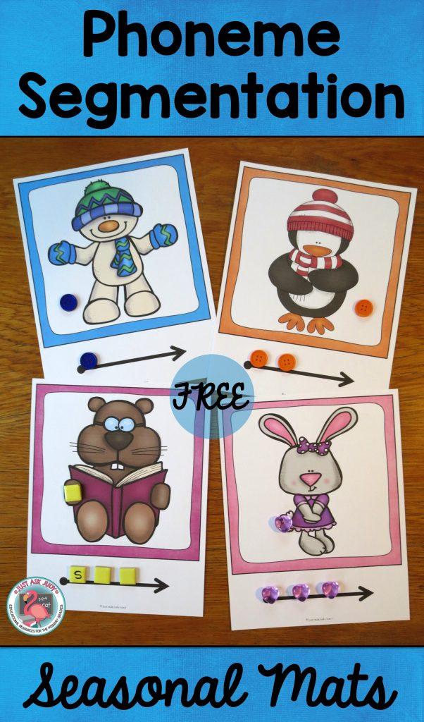 Enjoy these free seasonal phoneme segmentation mats, great for kindergarten and first grade!
