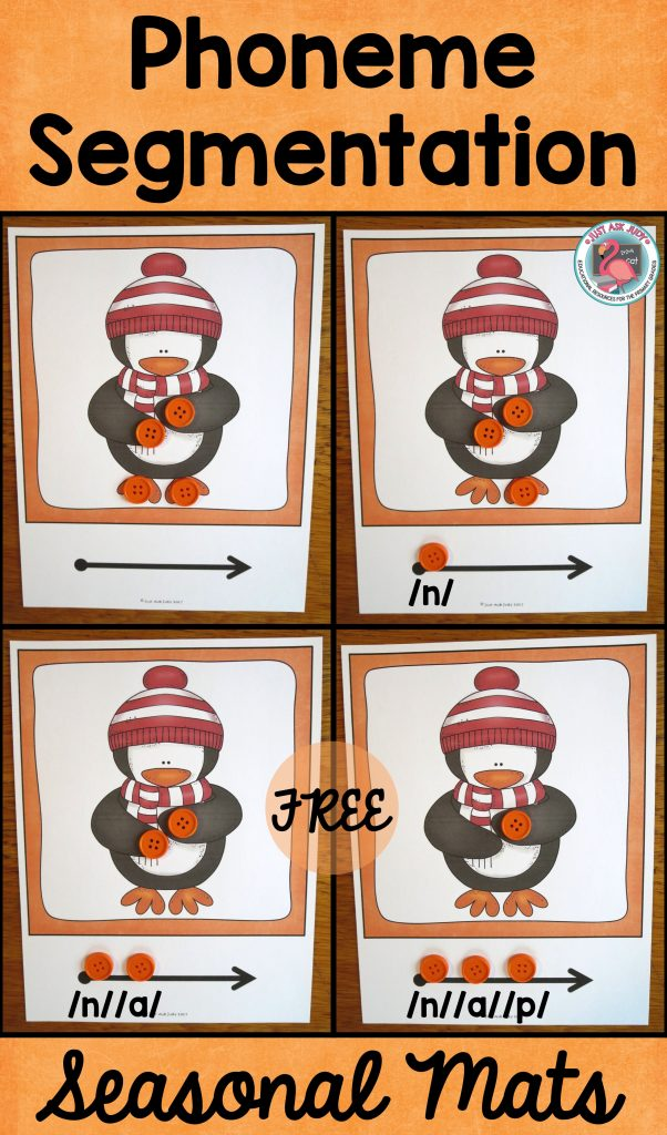 Enjoy these free seasonal phoneme segmentation mats, great for kindergarten and first grade!