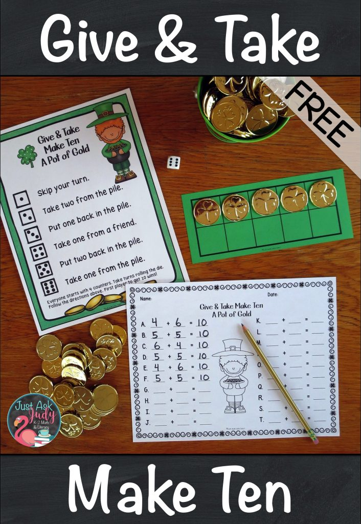 Try this free math game for learning, practicing, and reviewing the Make Ten addition facts in kindergarten, first, and second grades. This hands-on St. Patrick's Day themed game uses counters and ten frames to provide concrete and visual support. #AdditionFactStrategies #1stGradeMath