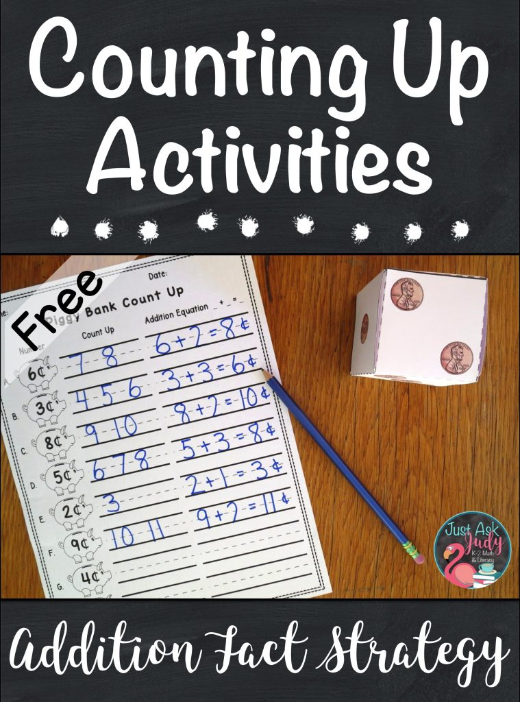 Discover math ideas and freebies in this post about helping your students in kindergarten, first, and second grades transition from counting all to counting on or counting up when adding! #additionfacts #additionfactstrategies #additionactivities #kindergartenmath #firstgrademath #secondgrademath