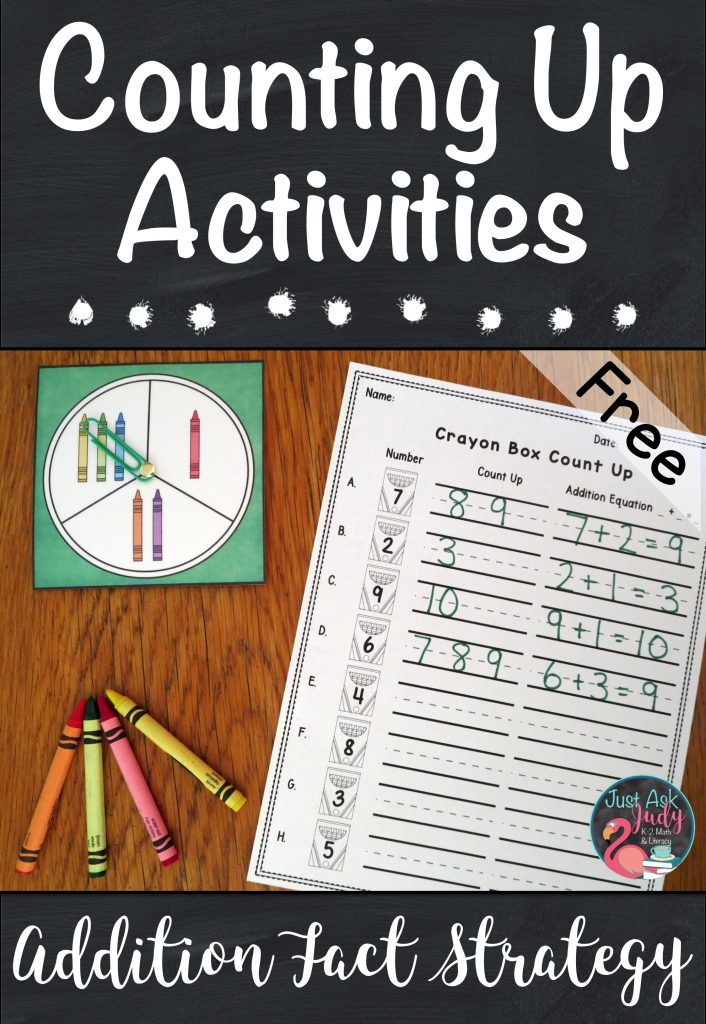 Find math ideas and freebies in this blog post about helping your kindergarten, first, and second grade students transition from counting all to counting on or counting up when adding! #additionfacts #additionfactstrategies #additionactivities #kindergartenmath #firstgrademath #secondgrademath