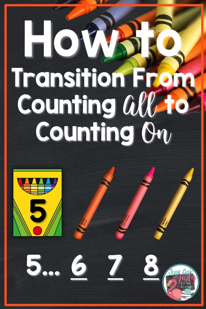 Discover math ideas and freebies in this post about helping your kindergarten, first, and second grade students move from counting all to counting on or counting up when adding! #additionfacts #additionfactstrategies #additionactivities #kindergartenmath #1stgrademath #2ndgrademath