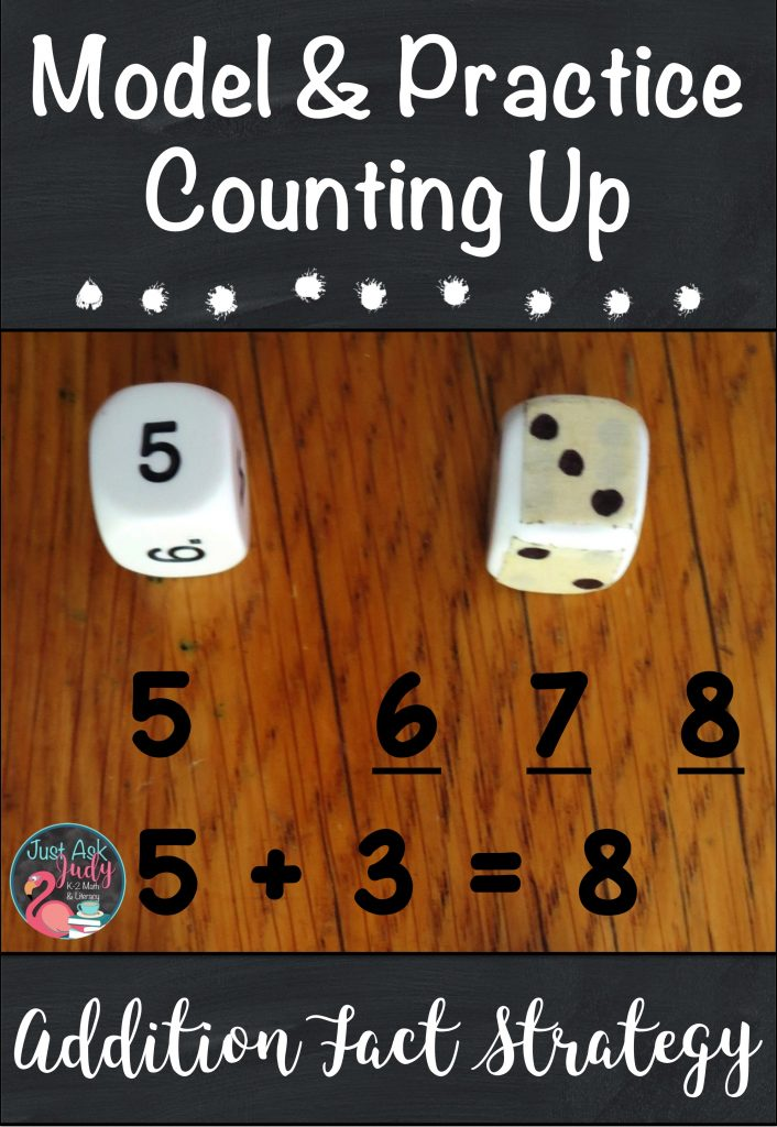 Find math ideas and freebies in this blog post about helping your kindergarten, first, and second grade students move from counting all to counting on or counting up when adding! #additionfacts #additionfactstrategies #additionactivities #kindergartenmath #1stgrademath #2ndgrademath