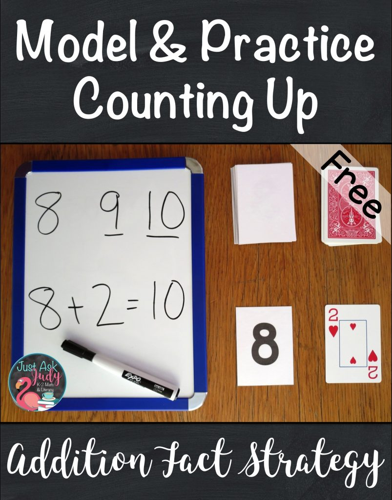 Try the math ideas and freebies in this blog post to help your kindergarten, first, and second grade students move from counting all to counting on or counting up when adding! #additionfacts #additionfactstrategies #additionactivities #kindergartenmath #1stgrademath #2ndgrademath
