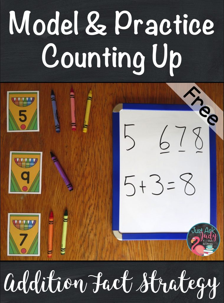 Check out the math ideas and freebies in this post about helping your students in kindergarten, first, and second grades move from counting all to counting on or counting up when adding! #additionfacts #additionfactstrategies #additionactivities #kindergartenmath #firstgrademath #secondgrademath