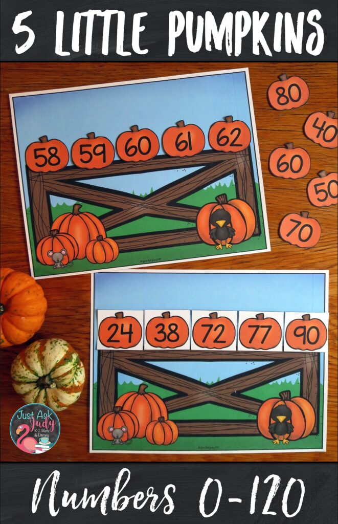 Here's an open-ended pumpkin-themed resource for sequencing numbers 0-120 in a variety of ways. Use it to provide individualized practice for your kindergarten, first, and second-grade math students. #Pumpkins #MathCenters #OrderingNumbers