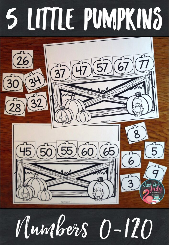 Check out flexible pumpkin-themed resource for ordering numbers 0-120. Use it to provide individualized practice for your kindergarten, first, and second-grade math students. #Autumn #MathStations #SequencingNumbers