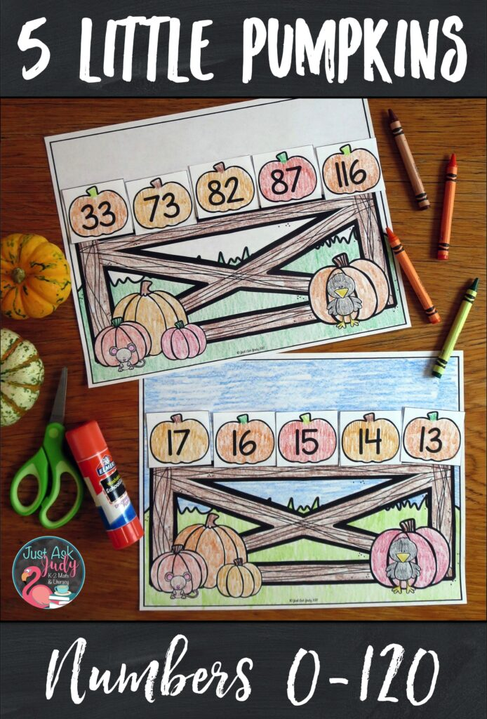 Use this easy prep pumpkin-themed math activity for ordering numbers 0-120 with your kindergarten, first, and second-graders. #SequencingNumbers #Pumpkins #FirstGradeMath