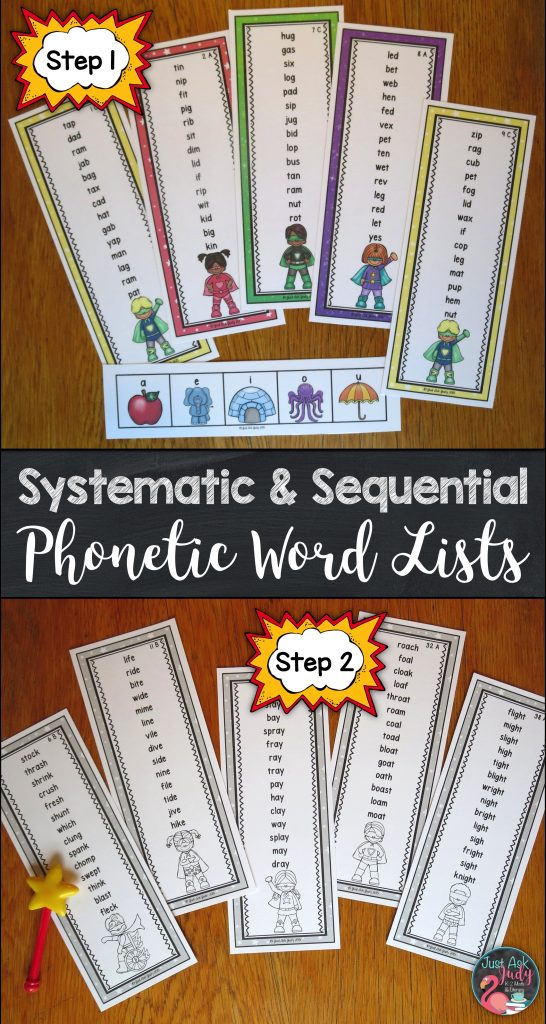 These easy to prepare word lists are an appealing way for kindergarten, first, and second-grade students to apply their decoding skills and to develop fluency in reading one-syllable words with short and long vowel patterns.