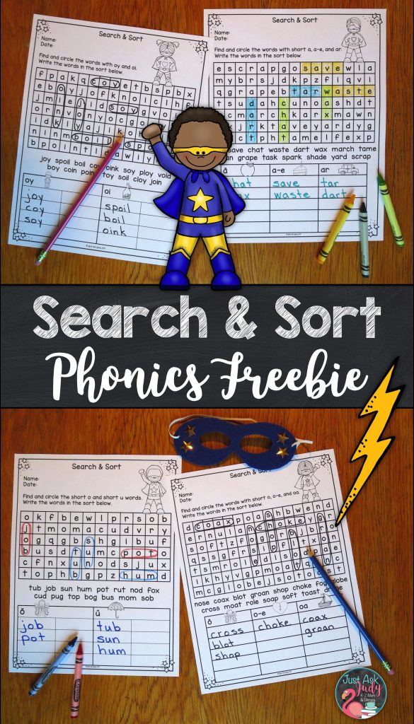 Enjoy these four free Search & Sort print and go pages for kindergarten, first, and second-grade phonics!