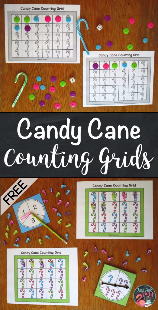 Click to download these free candy cane counting grids for preschool and kindergarten math.