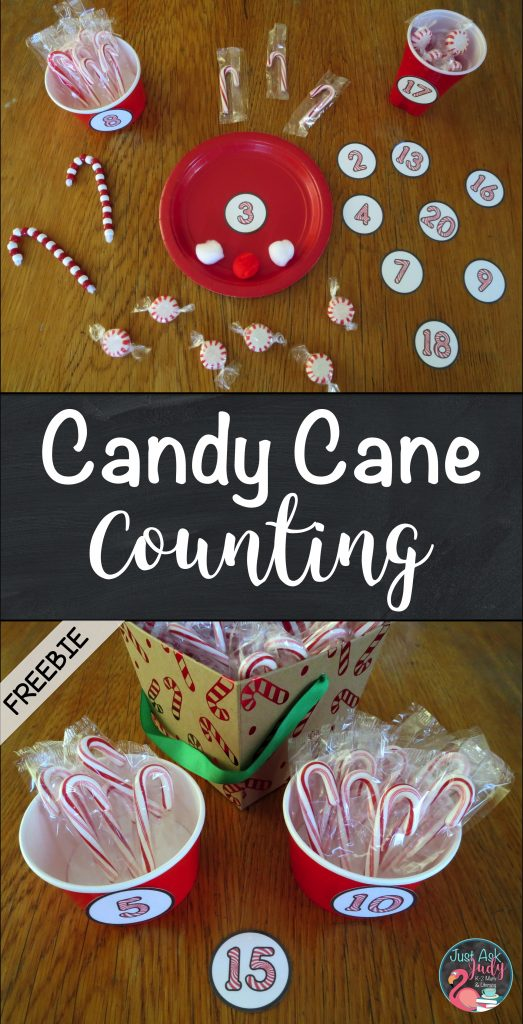 Enjoy using these free candy cane number labels for preschool and kindergarten counting activities!