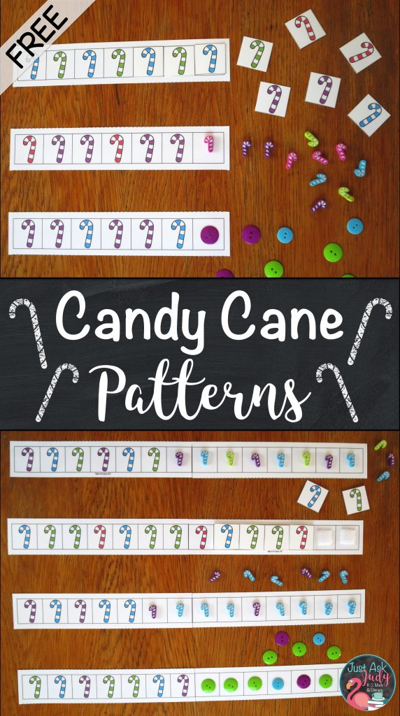 Have fun using these free candy cane pattern strips, ideal for kindergarten, first, and second grade math.