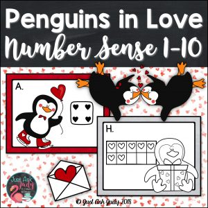 This is a preschool and kindergarten Valentine's Day themed roam the room small group number sense math resource for the numbers 1-10 incorporating dice patterns or ten frames with counting, writing numerals, writing number words, one less, one more, and representing a given quantity by drawing, with tally marks, and on ten frames.