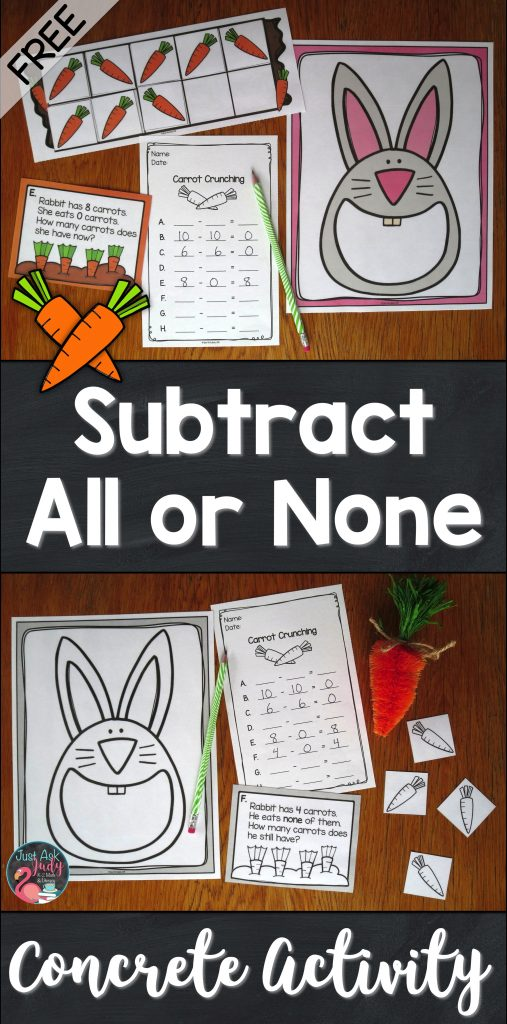 Click to find a free concrete activity for teaching the concepts of subtracting all or none from a given number, perfect for kindergarten, first, and second grade math.