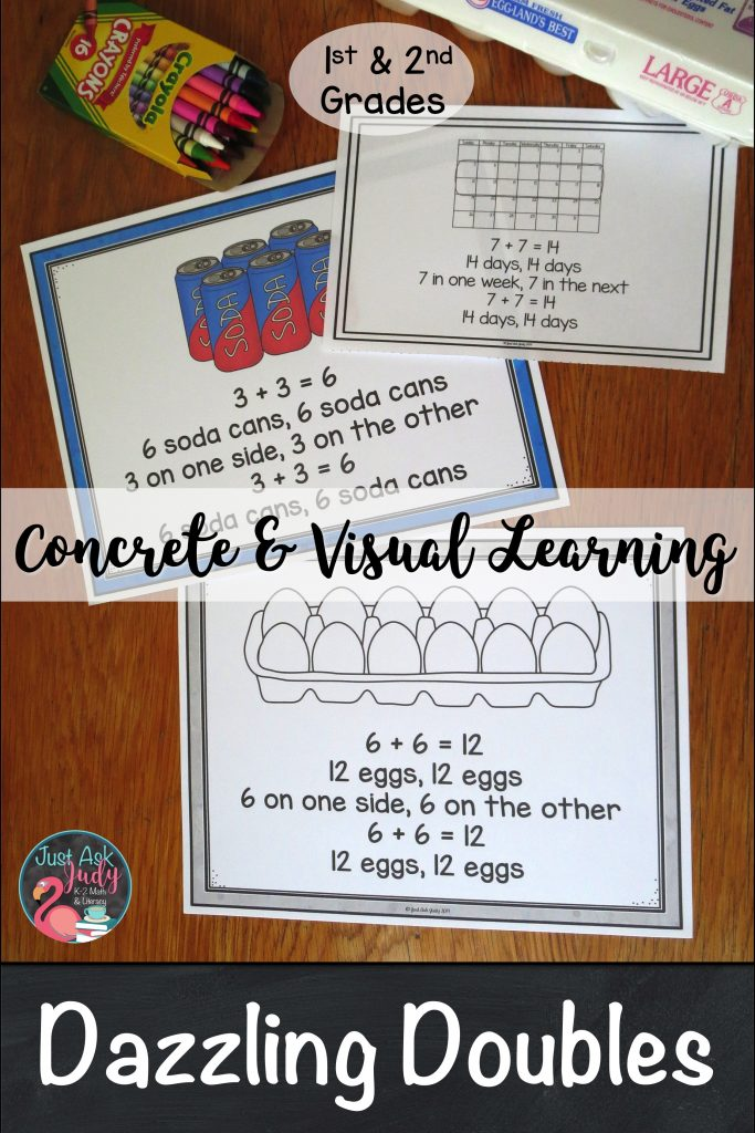 Check out this math resource for first and second grades that provides concrete and visual support for learning the addition doubles facts for sums to 20 for the benefit of students who may need more than a doubles rap to develop fluency with these.