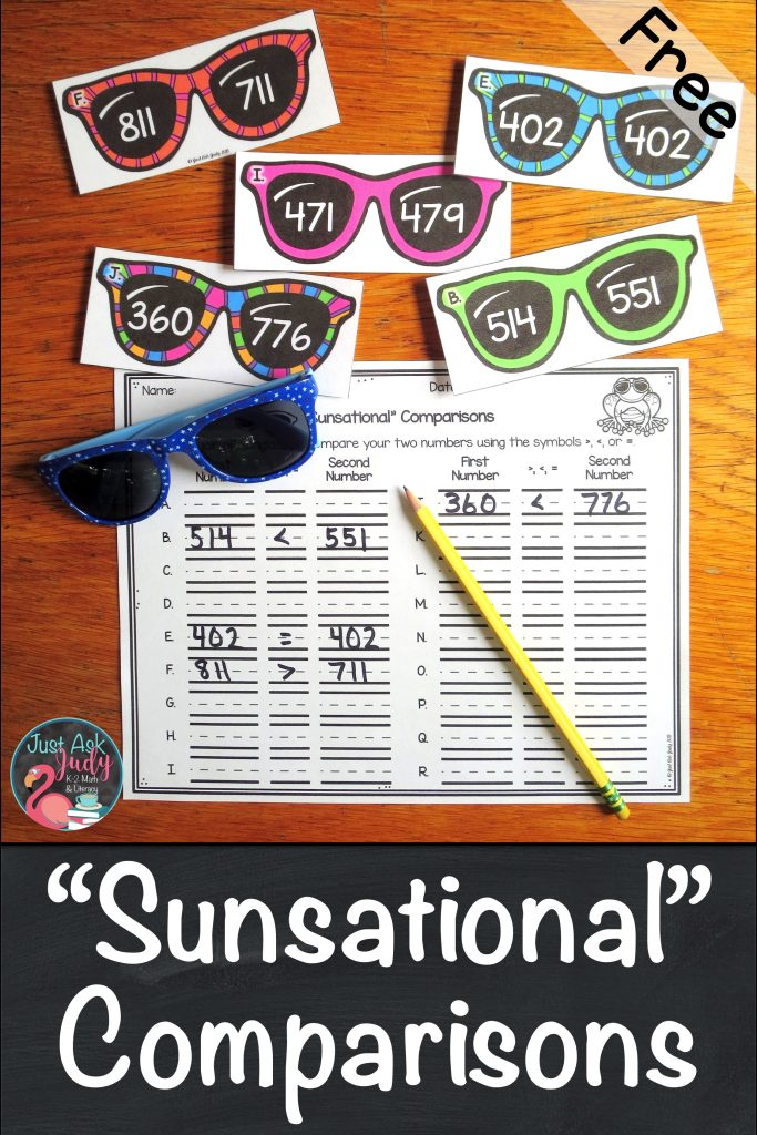 Check out this free versatile sunglasses themed resource for comparing three-digit numbers, perfect for 2nd and 3rd grade math. #comparingnumbers #secondgrademath #3digitnumbers