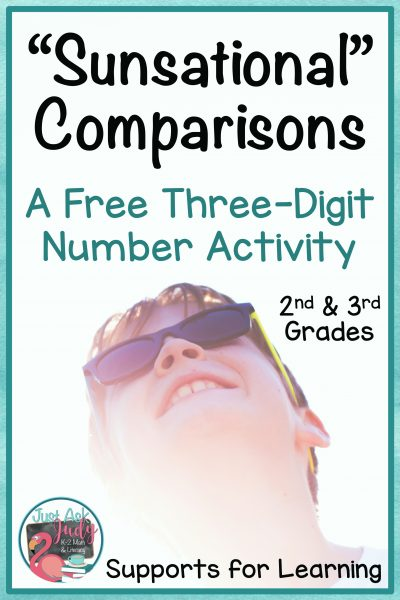 Click to see this free versatile sunglasses themed resource for comparing three-digit numbers, perfect for second and third grade math. #comparingnumbers #secondgrademath #3digitnumbers