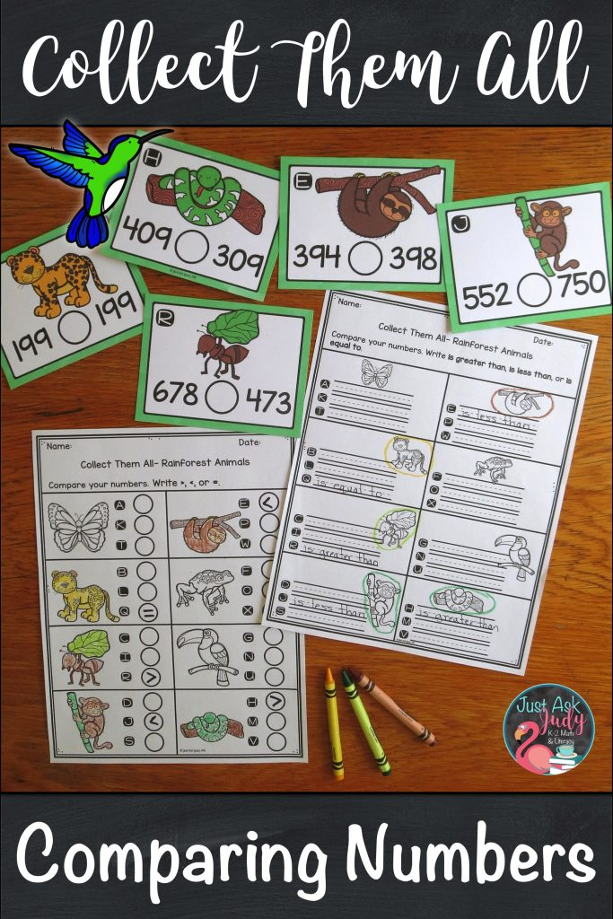 Engage your second and third-grade students with this rainforest animal themed small group task card math activity with a twist, for practicing or reviewing comparing three-digit numbers. $ #secondgrademath #comparingnumbers #3digitnumbers #rainforest