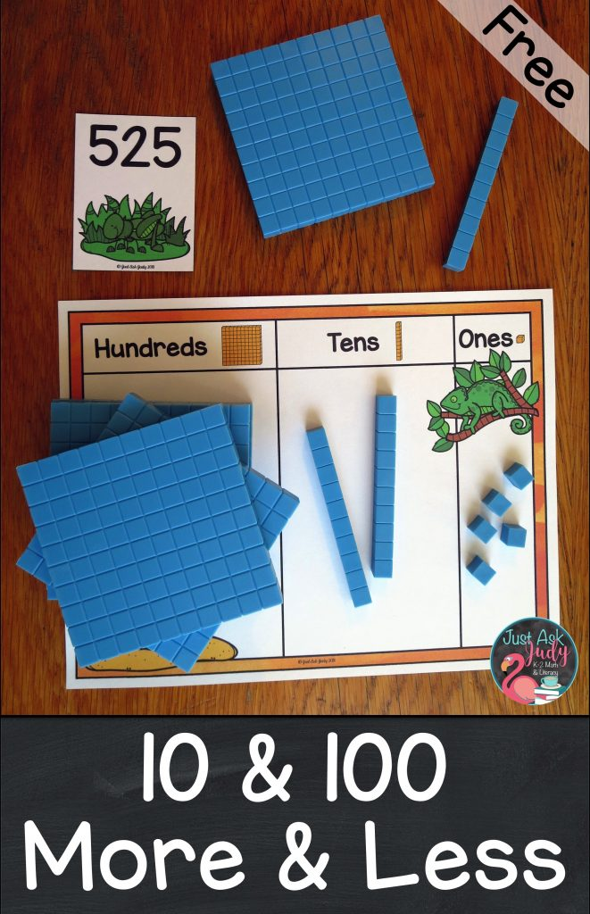 Check out this free animal camouflage themed math activity for introducing or practicing ten less or more and one hundred less or more than a three-digit number, 100-900. It is perfect for 2nd or 3rd grade intervention or resource groups as well as an independent math center. #secondgrademath #thirdgrademath #100lessandmore #animalcamouflage