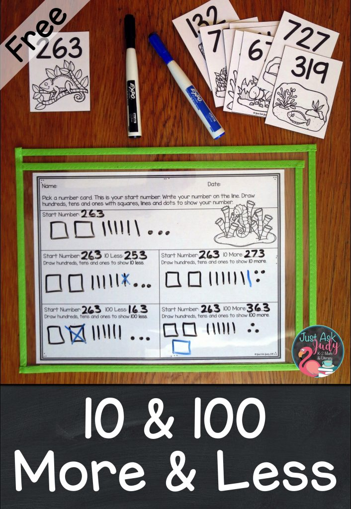 Find out about this free animal camouflage themed math activity for introducing or practicing ten less or more and one hundred less or more than a three-digit number, 100-900. It is suitable for 2nd or 3rd grade intervention or resource groups as well as an independent math center. #secondgrademath #thirdgrademath #100lessandmore #animalcamouflage
