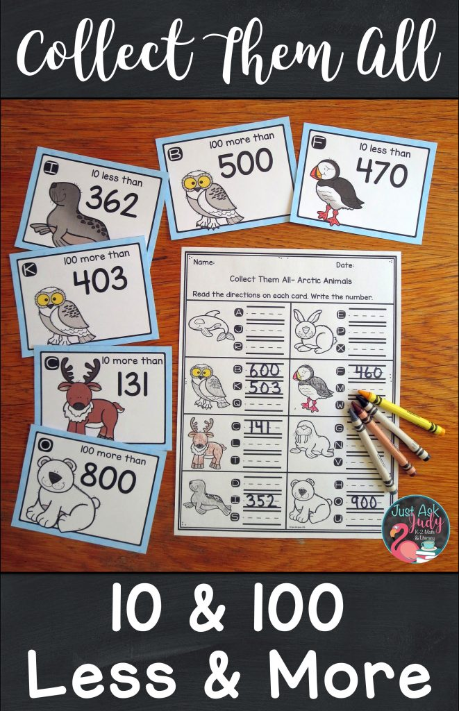 Check out this unique arctic animal themed small group task card math activity, for practicing or reviewing ten less or more and one hundred less or more than a three-digit number, 100-900. It is a perfect resource for second or third grade. $ #secondgrademath #arctic #taskcards #moreandless