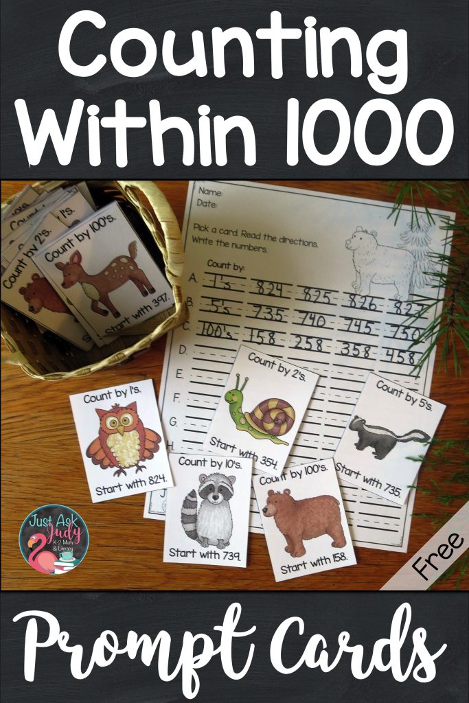 Click to find about these free forest animal themed counting within a 1000 full-color prompt cards that are the ideal addition to your counting routines for second and third-grade math. Use these prompt cards for choral counting, counting around the circle, or start and stop counting activities. #CountingWithin1000 #ForestAnimals #SecondGradeMath #ThirdGradeMath #CountingRoutines