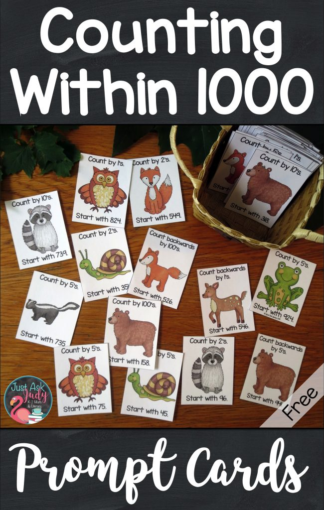 Discover these free forest animal themed counting within a 1000 full-color prompt cards. They are the perfect addition to your counting routines for second and third-grade math. Use these prompt cards for choral counting, counting around the circle, or start and stop counting activities. #CountingWithin1000 #ForestAnimals #SecondGradeMath #ThirdGradeMath #CountingRoutines