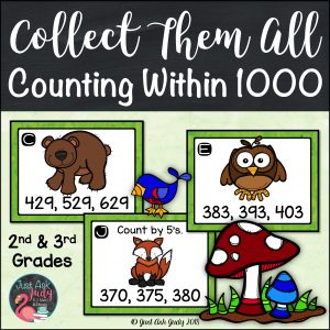 Click to see this unique forest animal themed small group task card math activity, for practicing or reviewing counting by ones, fives, tens, and hundreds within 1000. It is ideal for the second or third grade. #countingwithin1000 #forestanimals #mathactivity #secondgrademath