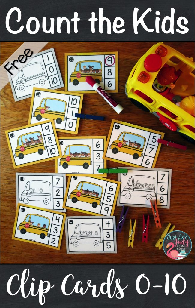 Get ready for school with these count the kids on the bus clip cards for numbers 0-10, perfect for kindergarten math centers. #bus #BackToSchool #kindergarten #MathCenters