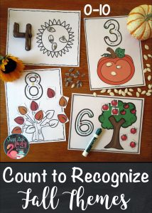 Try these easy to prepare fall themed full-page number mats, 0-10 with your preschool and kindergarten learners. These intentionally simple, hands-on math mats are designed to develop skills in counting, numeral recognition, and numeral formation. #NumberRecognition #FallMathActivities #pumpkins #sunflowers #apples