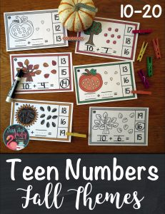 Check out these easy to prepare fall themed half-page clip cards, 10-20. They are ideal for kindergarten and early first-grade math. There are four sets of cards (sunflower seeds, leaves, apples, or pumpkin seeds), each in color and black/ gray/ white. Each card has a picture of a group of ten along with extra ones to represent a number 10-20. #FallMathActivities #TeenNumbers #apples #pumpkins #sunflowers