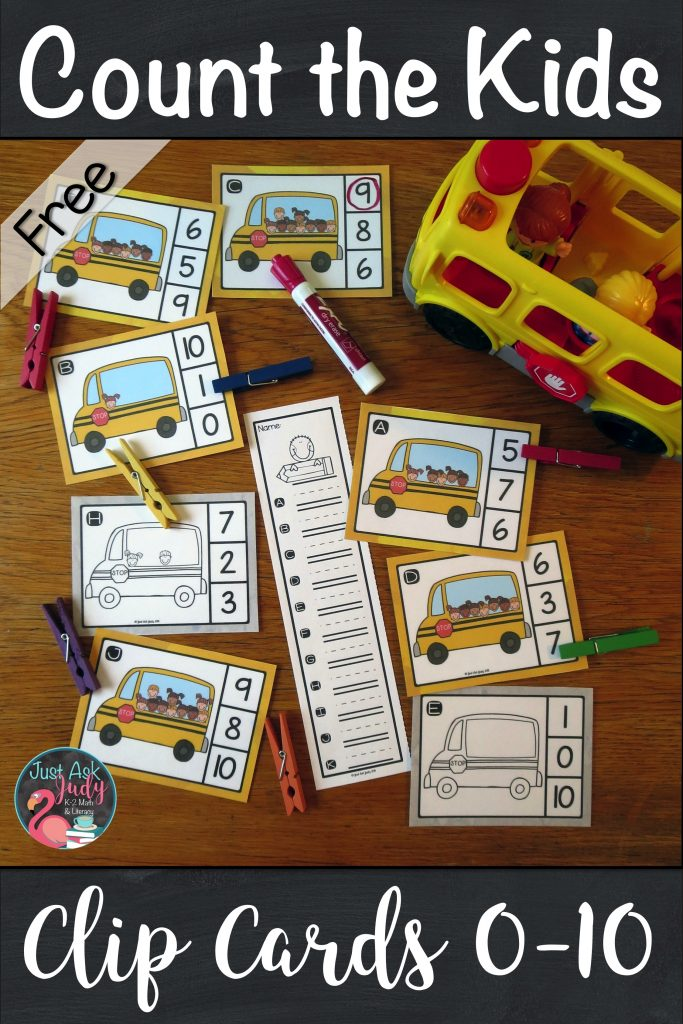 Head back to school with these count the kids on the bus clip cards for the numbers 0-10, ideal for kindergarten math centers. #BTS #KindergartenMath #MathCenters