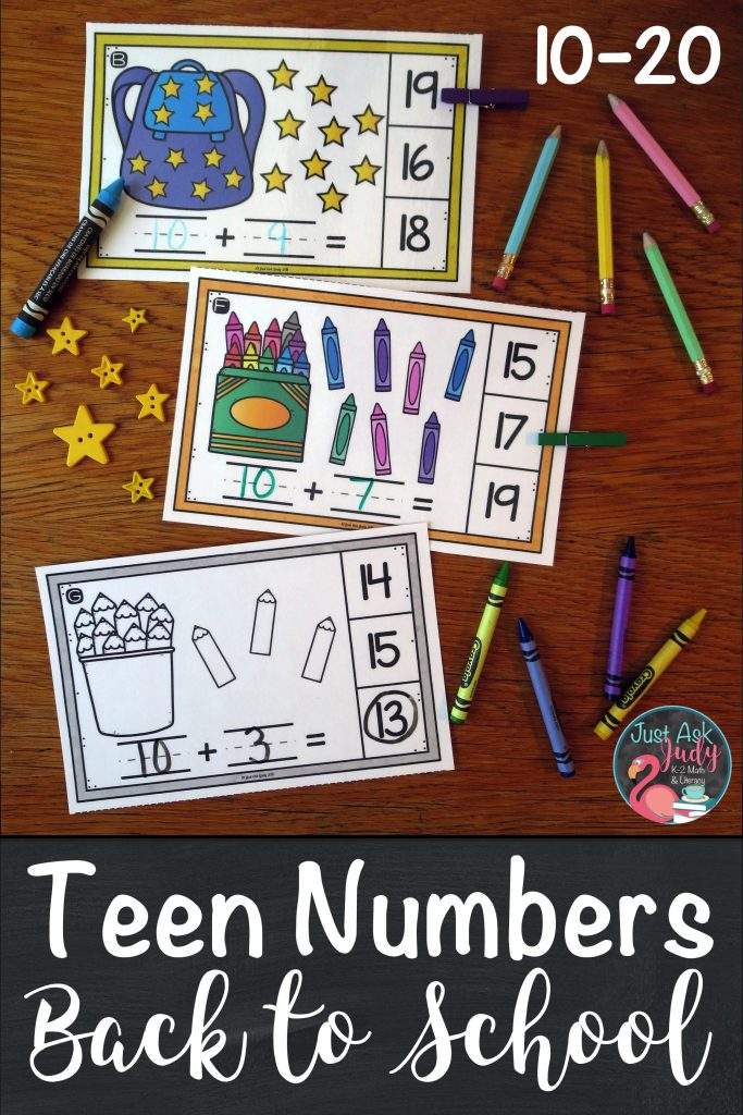 Try these easy to prepare school themed half-page clip cards, 10-20, ideal for kindergarten and early first-grade math. There are three sets of cards (crayons, pencils, or stars on a backpack), each in color and black/ gray/ white. Each card has a picture of a group of ten along with extra ones to represent a number 10-20. #KindergartenMath #FirstGradeMath #TeenNumbers #NumberClipCards #BackToSchool